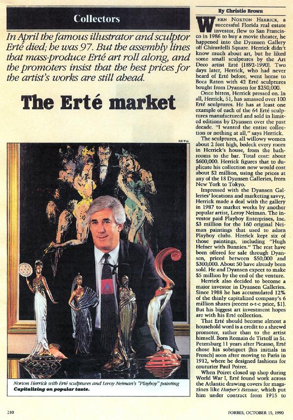 Norton Herrick with Erte Sculptures by Forbes Magazine.