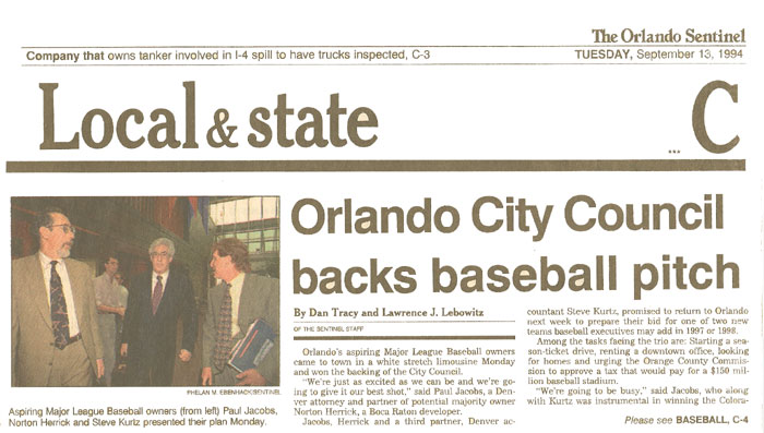 Orlando City Council Backs Baseball Pitch