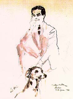 Ink on white paper with a man and his dog