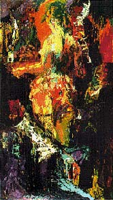 Abstract Oil on Board with girl and cigarette
